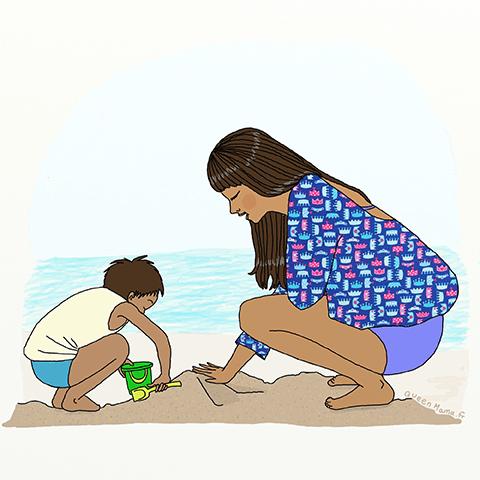 illustration-mere-fille-sable-pepite-digitale